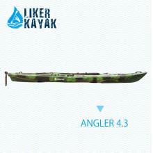 4.3m caiaque de pesca com pedais Footrest controle, assento e carrinho 2in1, motor disponível