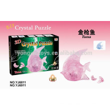 Hot sale crystal 3D jigsaw puzzles tuna with light 19PCS