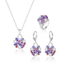 Conjunto de jóias de moda elegante com CZ colorido