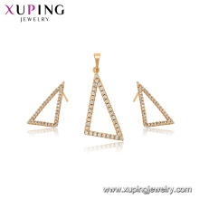 65006 xuping newest fashion simple triangle shape jewelry set for women