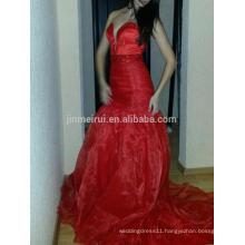 Sexy Sweetheart Long Train Mermaid Evening Dresses Hot Sale Red Satin Prom Dress Plus Size Dresses Robe De Soiree 2016 Longue