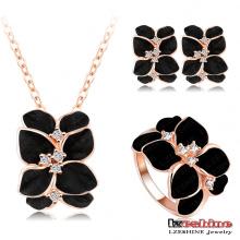 Ensembles de bijoux floraux secrets roses noirs (ST0002-A-2)