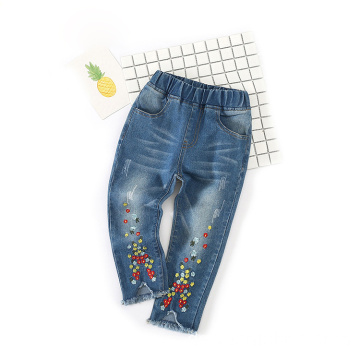 Embroidery Designs Fransen Blue Cotton Jeans für Kinder