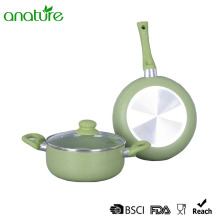 Batterie de cuisine à fond vert en induction 3Pcs