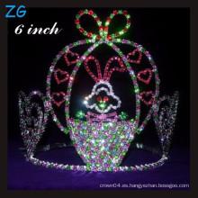 Tiara coloreada linda del conejo del rhinestone, coronas modificadas para requisitos particulares al por mayor del desfile de los cabritos de las coronas
