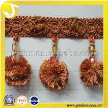 Hilado de poliéster 2014 Pompom Borde de franja de borla para decoración de hogar y textil, fabricado en China