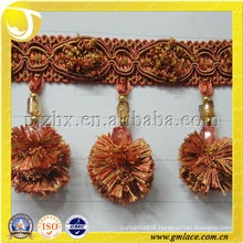 2014 polyester yarn Pompom Tassel fringe trim for home and Textile Decor ,made in China