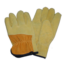Beige Pig Split Palm Driver Safety Work Glove with Cow Split Back
