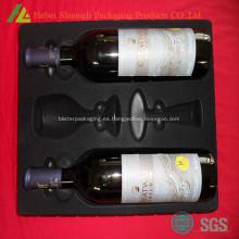 reuniéndose la caja de plástico embutido 2 botellas de vino