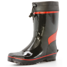 Short Black And Red Men's rubber rain boots