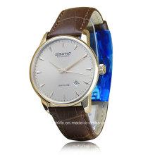 Reloj de pulsera automático de cuero de los hombres del zafiro 2016