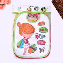 Algodón bordado colorido personalizado de dibujos animados baberos lindos del bebé