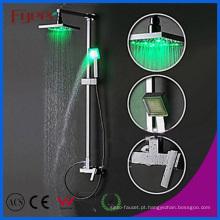 Fyeer Bathroom Brass Rainfall Shower Set com luz LED (QH336-1F)