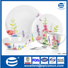 light weight super white porcelain tableware with floral motifs for garden party