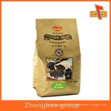 Umweltfreundliche Block Bottom Side Zwickel / Stand Up Kraft Papier Kaffeebeutel