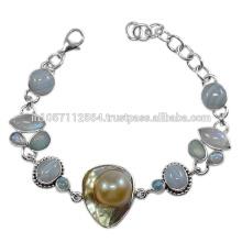 925 Sterling Silber & Blue Lace Achat Doublet Opal Regenbogen Moonstone Edelstein Armband Schmuck