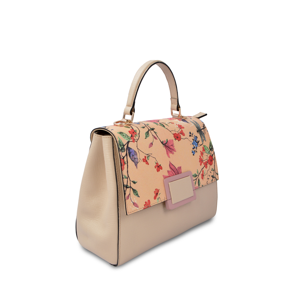Fashion Pu Leather Flower Printed Handbag Women Tote Bags