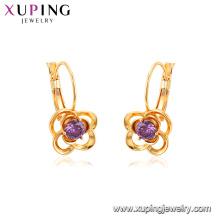 95081 Haut de gamme belle dames bijoux dubai boucles d'oreilles en or fleur forme violet pierres précieuses boucles d'oreilles créoles