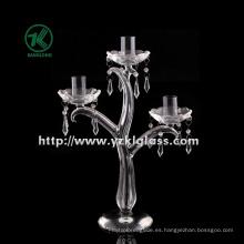 Clear Glass Candle Holder para la decoración de la boda con el cartel de tres