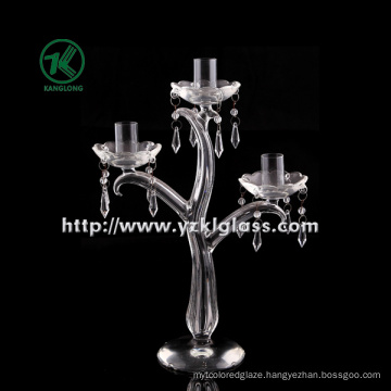 Clear Glass Candle Holder for Wedding Decoration with Three Poster