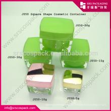 Verde todo o tamanho vazio frasco acrílico acrílico, frasco acrílico quadrado