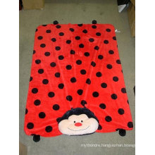 polka dots printed 3D emb coral fleece fabric baby product throw
