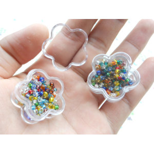 Flower Shape Small Clear Plastic Box Mini Flower Organizer Storage Box