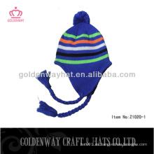 Orejeras profesionales de esquí tejidos gorras invierno caliente barato para el festival de Navidad con diseño personalizado logo