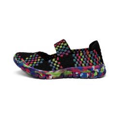 Women's Multi-color Woven Elastic Upper Dance Shoes