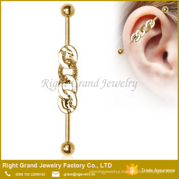 Titanium Plated Surgical Steel Rope Chain Industrial Barbell Earring