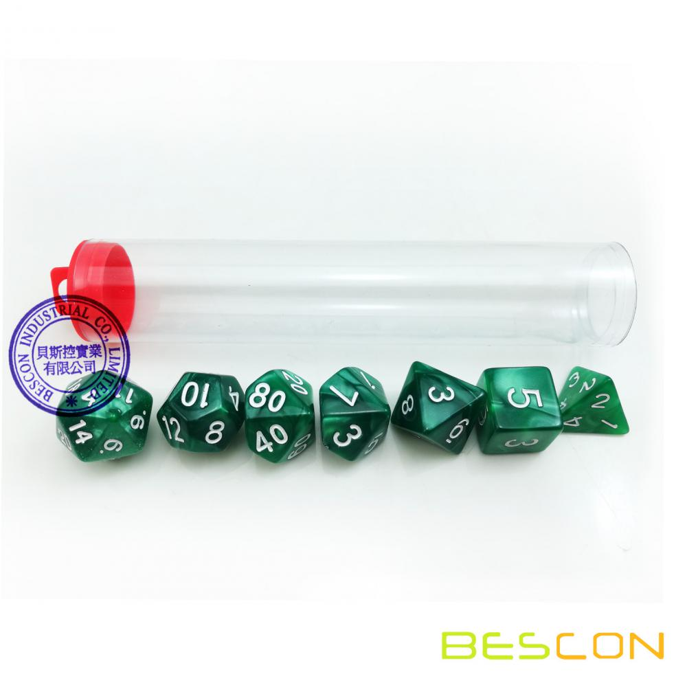 Bescon Set of 7PCS RPG Dice Die D4~D20 for Games Dungeons & Dragons DND D&D 7pcs Polyhedral Dice Set Marble Green