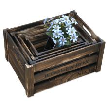 Caixa de assentamento de madeira afligida do revestimento / caixas rústicas armazenamento do armazenamento ajustadas para o potenciômetro de flor