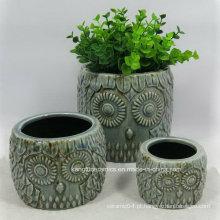 Projeto da coruja em relevo vaso de cerâmica de decoração para casa