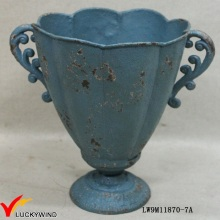 Cast Iron Blue Rustic French Antique Pedestal Planters and Urns