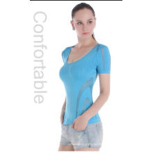 Sexy Hot Short Sleeve Seamless Women Mesh Tops