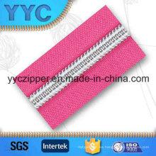 3 # dientes de plata de nylon de cadena larga cremallera para textiles para el hogar