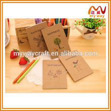 interesting small size school notebook,recycle brown kraft paper notebook