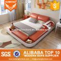 SUMENG оранжевый и белый кожаный кровать с светом СИД