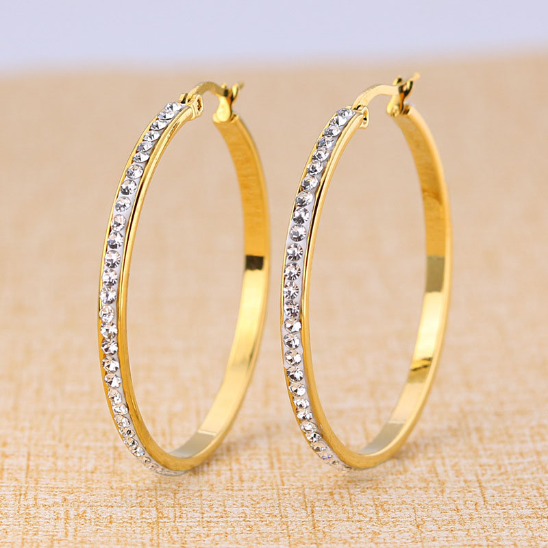 Large Gold Plated Hoop Earrings