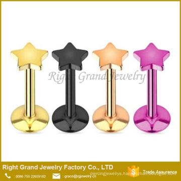 316L Surgical Steel Titanium Gold Black Plated Star Flat Top Internally Threaded Lip Labret