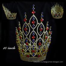 Горячая распродажа! Rhinestone Pageant Корона Аквамарин Кристалл Тиара принцесса корону для королевы королевы для продажи