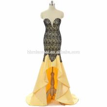 Cor amarelo e azul feito à mão fora do ombro curto frente e longa para trás longo vestido de formatura 2017