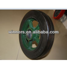 "12""x2"" heavy duty Cast iron Wheel with rubber strip"