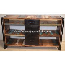 Unidade de TV de reciclagem de madeira Industrila Drawer