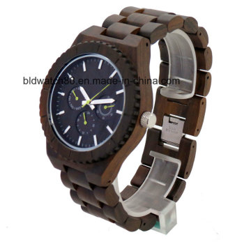 2017 New Waterproof Multifunctional Chronograph Wooden Watches for Men Women