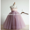 Purple color stripped children flower girl dress purple color wedding dress lace for children flower girl
