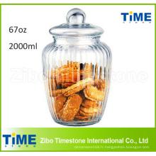 Grand récipient de biscuit de biscuit de verre clair de 2000ml