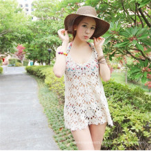 Women Casual Hollow Crochet Bikini Cover up Beach Blouse (50165)