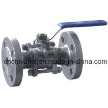 Válvula de bola de la acción de la barra de bronce del acero inoxidable 3PC