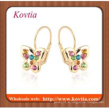 NEUESTE Art und Weise rosafarbenes Gold überzogener Schmetterlingsohrring kleines Mädchen freigegebenes Bild